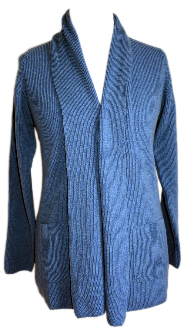 Johnstons - Ladies cashmere 2ply shawl collar cardigan delph blue