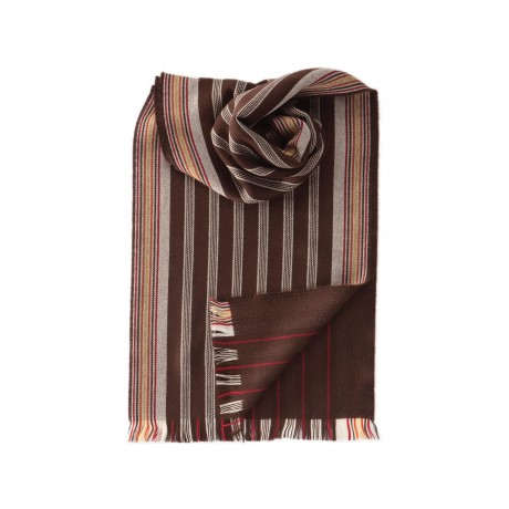 Johnstons merino turban stripe scarf brown