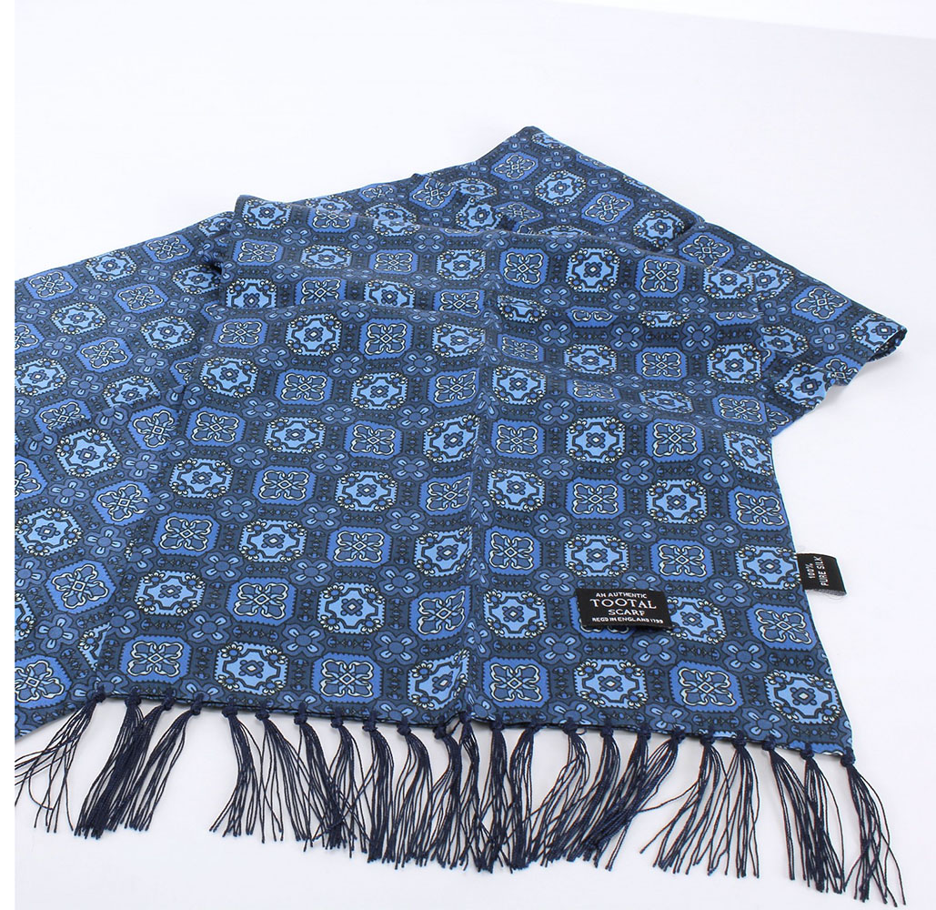 Tootal Vintage Blue Small Tile Print Scarf