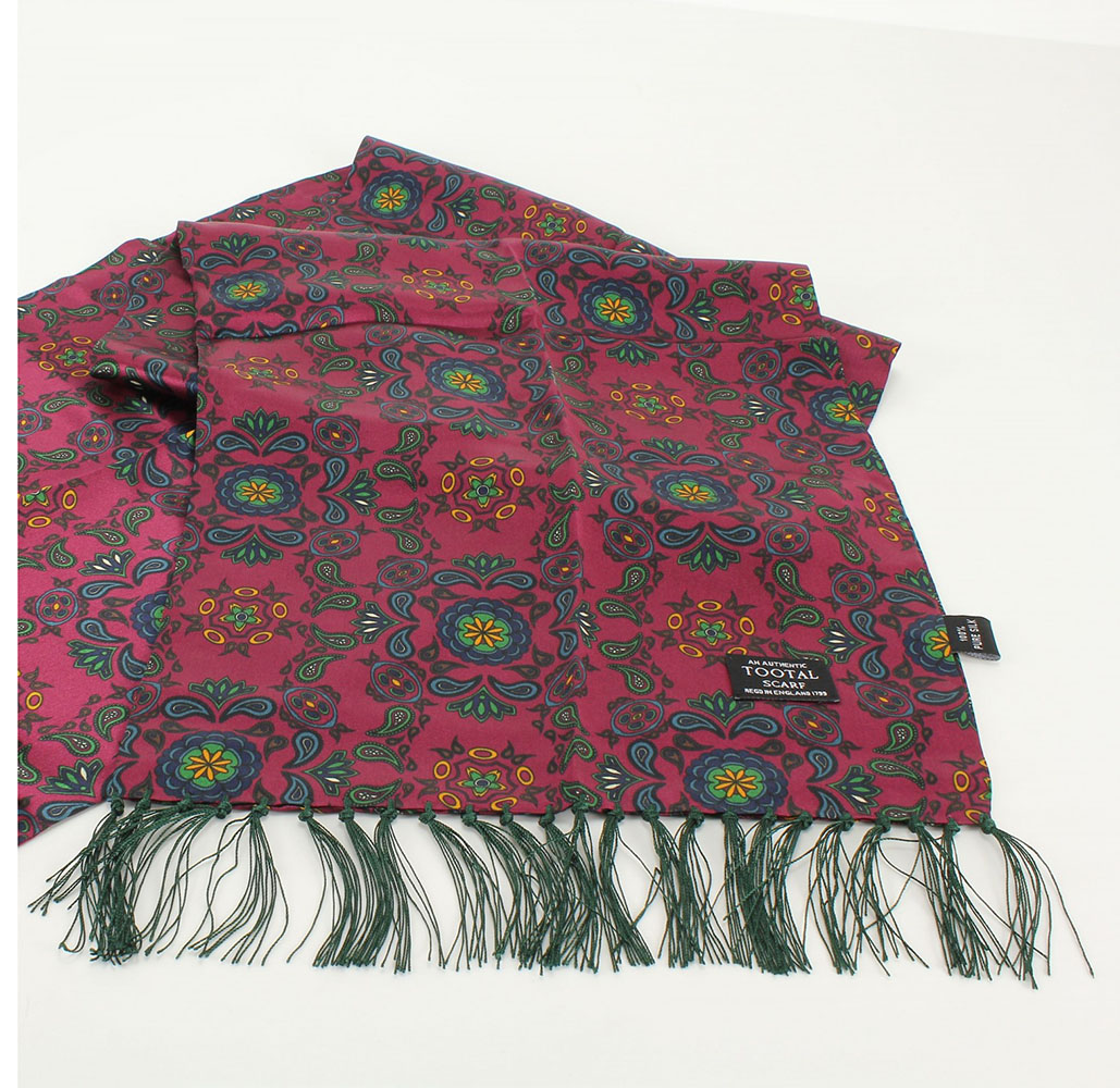 Tootal Vintage Oxblood Red Abstract Paisley Print Scarf