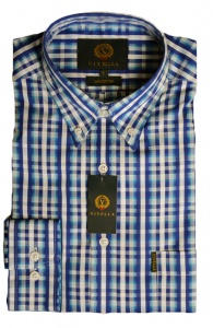 Viyella Cotton Blue Dobby Stripe on Check Shirt