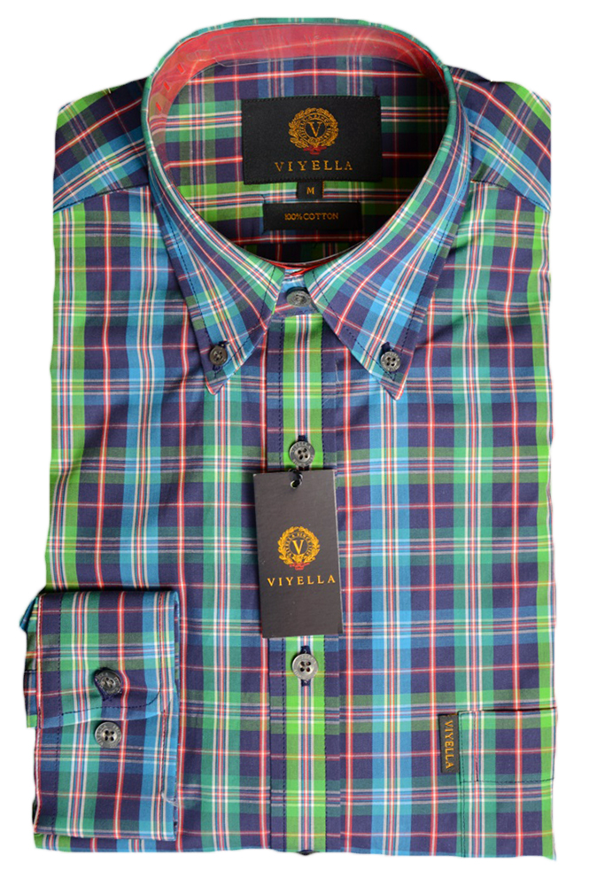 Viyella Cotton Green Vibrant Check Shirt