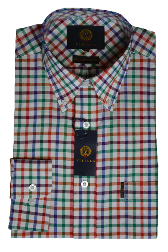 Viyella Cotton and Linen Blend Green and Blue Tattersall Check Shirt