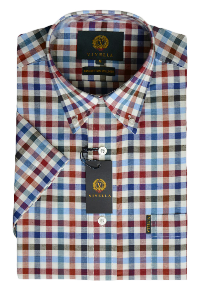 Viyella Cotton and Linen Short Sleeve Club Check Shirt