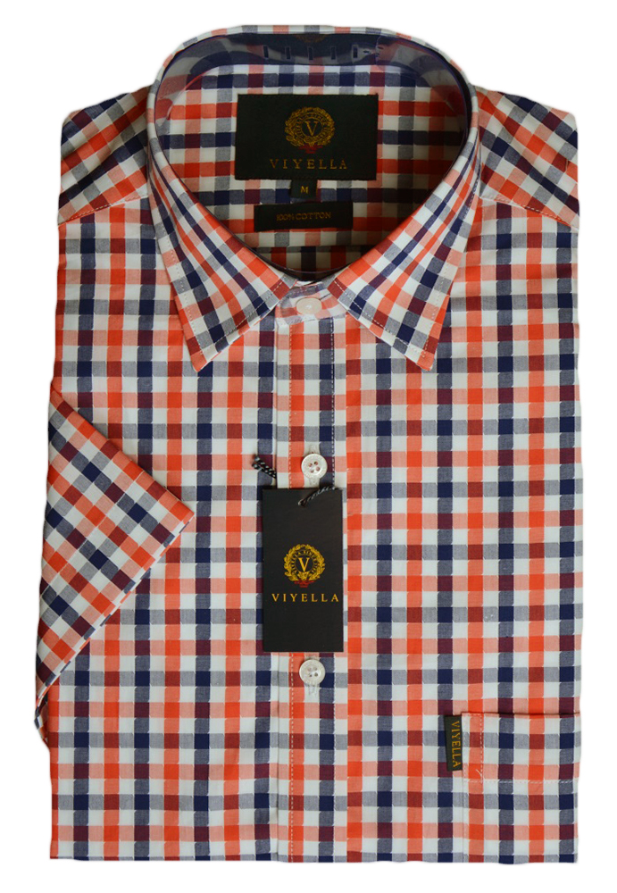 Viyella Cotton Short Sleeve Blue and Red Fancy Dogtooth Shirt