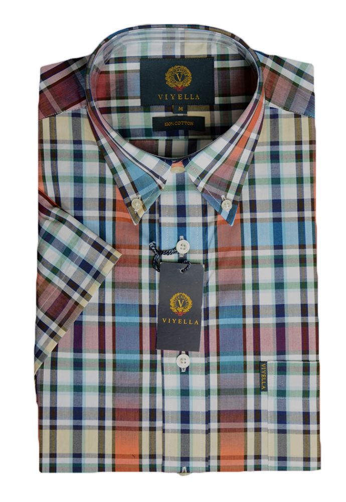 Viyella Cotton Short Sleeve Petrol Ikat Check Shirt