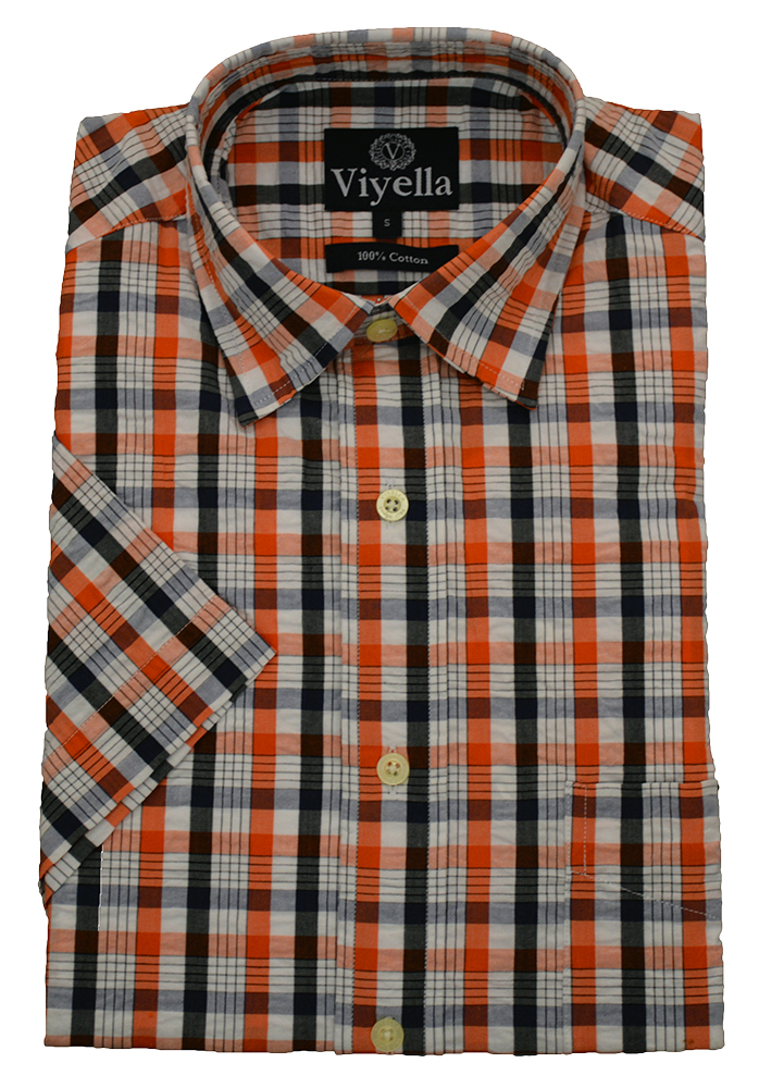 Viyella Cotton Short Sleeve Thick Check Shirt
