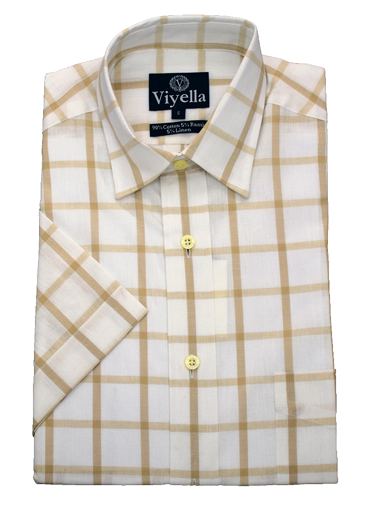 Viyella Cotton Short Sleeve large beige check shirt