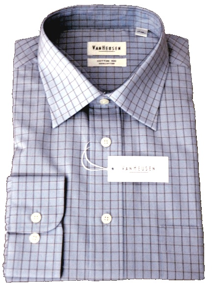 Van Heusen - Blue cotton 100 shirt with brown check