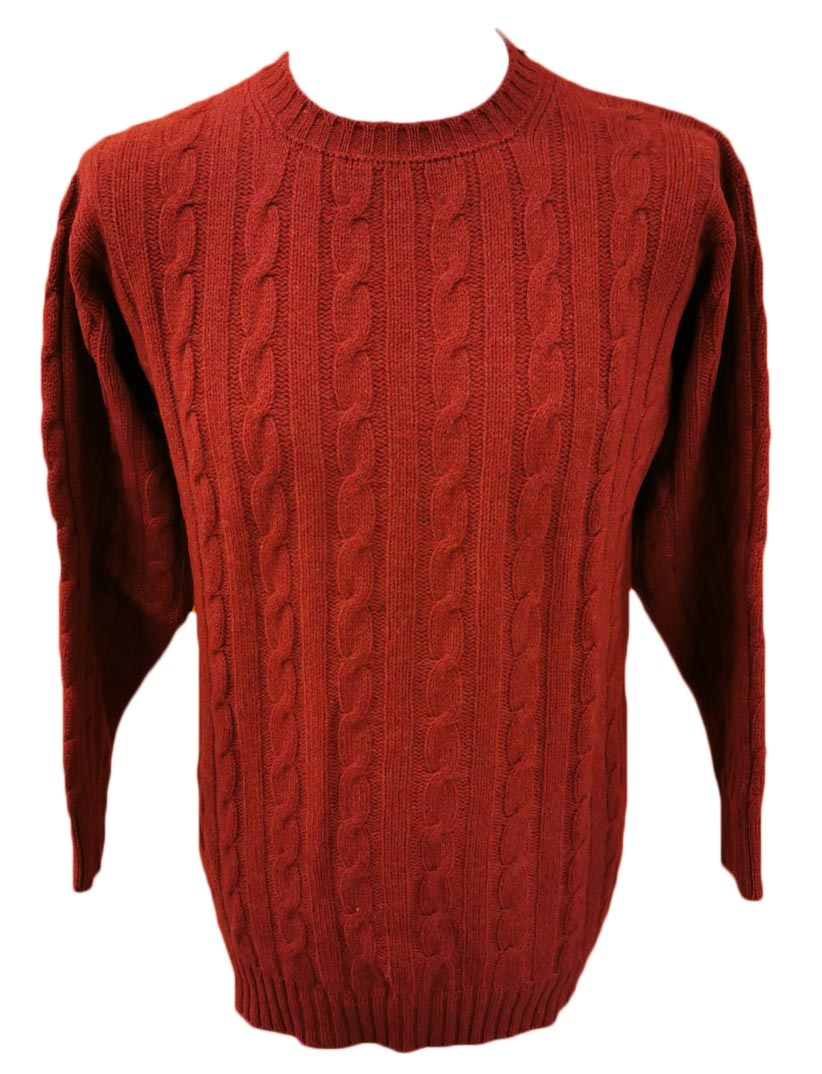 Westaway Mens Lambswool  3ply Cable Crew Neck Pullover