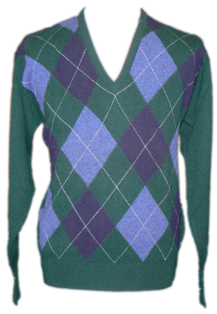 Westaway Mens Lambswool Argyle Intarsia V Neck Pullover