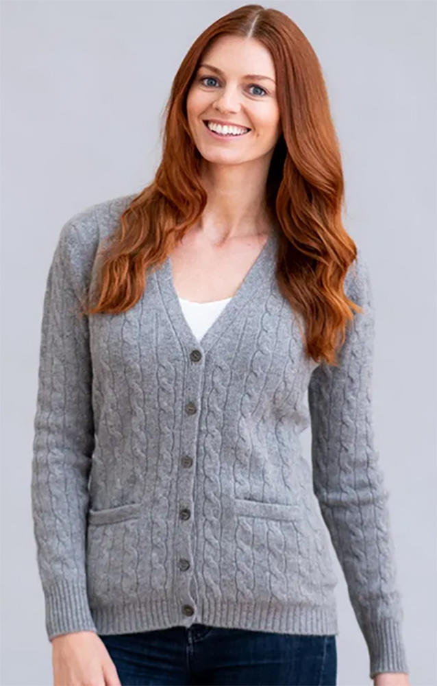 William Lockie - Candice 2ply Cable V Neck Cardigan