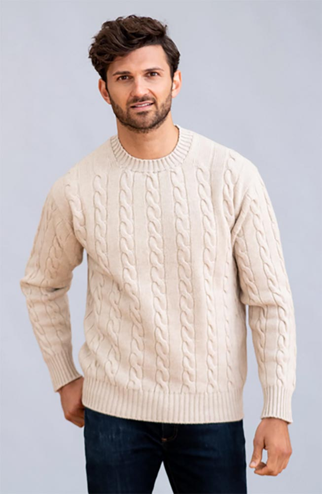 William Lockie - Chirnside 4ply cable crew neck pullover