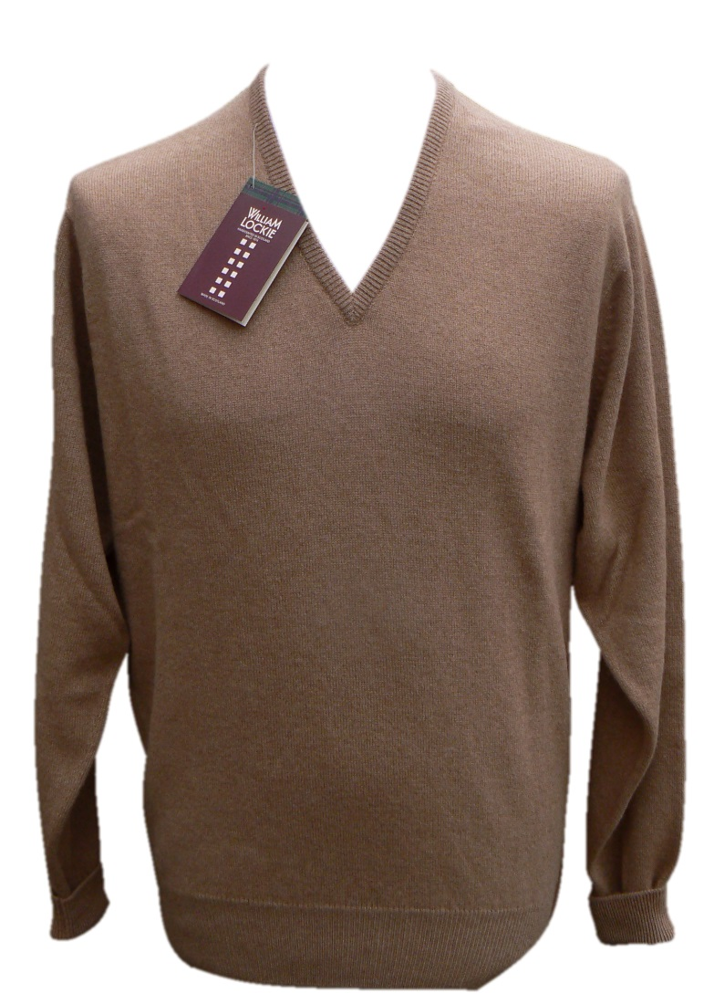 William Lockie Mens Camelhair v neck pullover