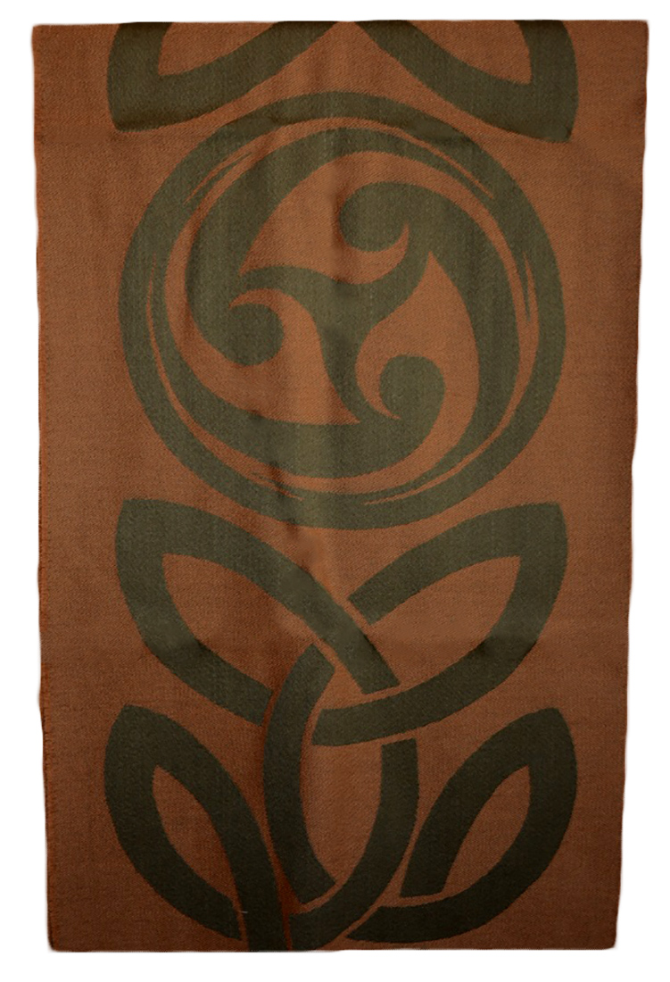 James Pure Wool Celtic Swirl Reversible Scarf Loden Tan