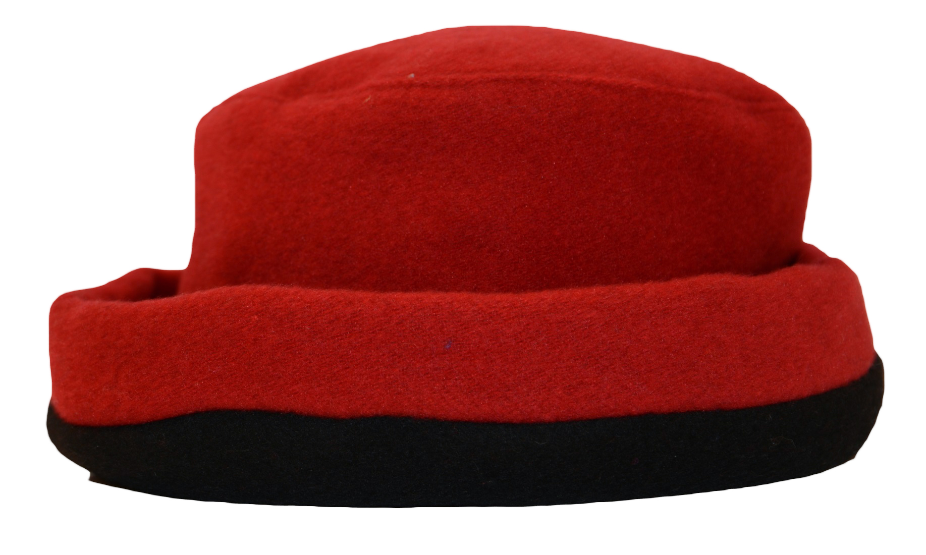 James Wool Cashmere Cloche Red Black